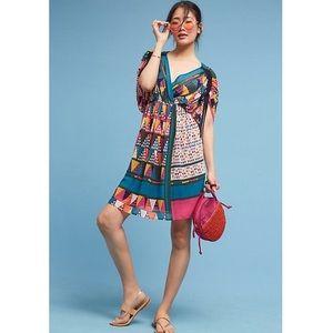 Anthropologie geo-Printed kimono Dress